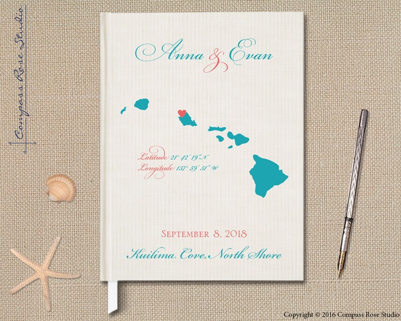 Custom Vintage Guest Book Maui Hawaii Wedding Guest Book Any Country or State Map Guestbook Elopement Reception Guest Book