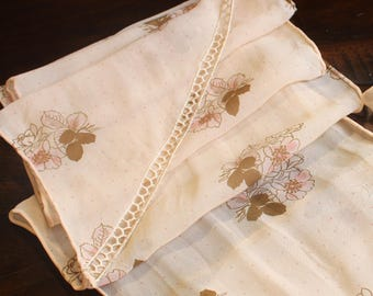 Vintage decorative edged scarf – Tan and pink floral design scarve or hair tie hair band