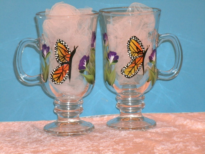 set of four MONARCH BUTTERFLY IRISH coffee mugs