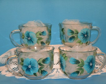 PANSY MUGS, BLUE, set of four