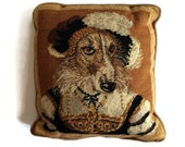 Vintage Needlepoint Dog Pillow 100 Wool Cotton Velvet Back Victorian Pillow Dog Wearing Clothes Home Decor Library
