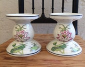 Chinoiserie Candle Holders porcelain Asian decor lotus flower