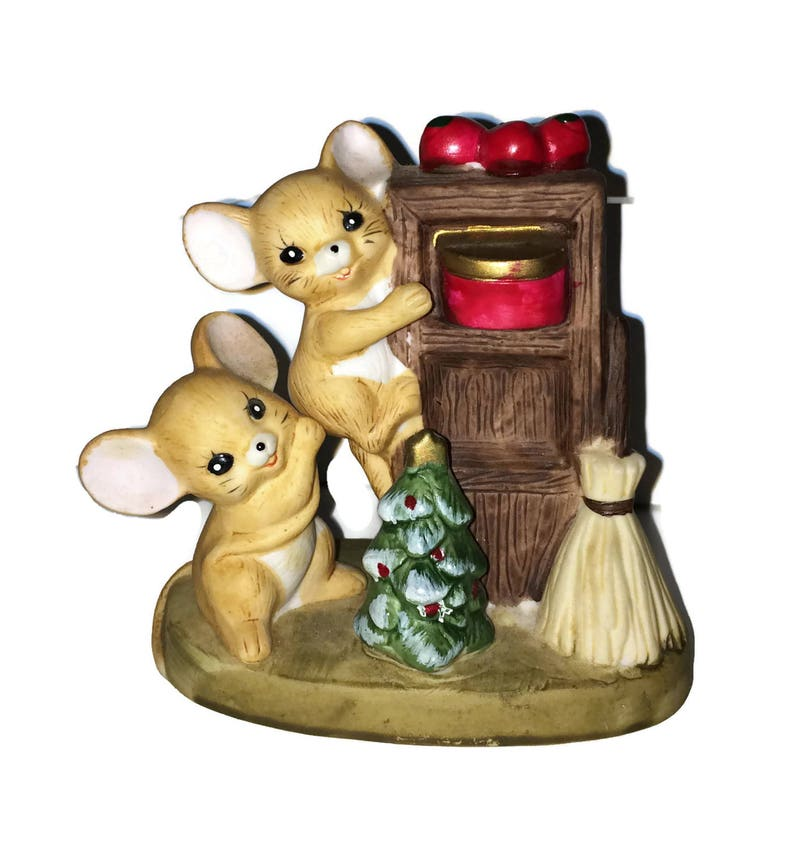 Christmas Mice Figurine, Porcelain Bisque mouse figurine, mischievous mice  statue, Christmas decorations