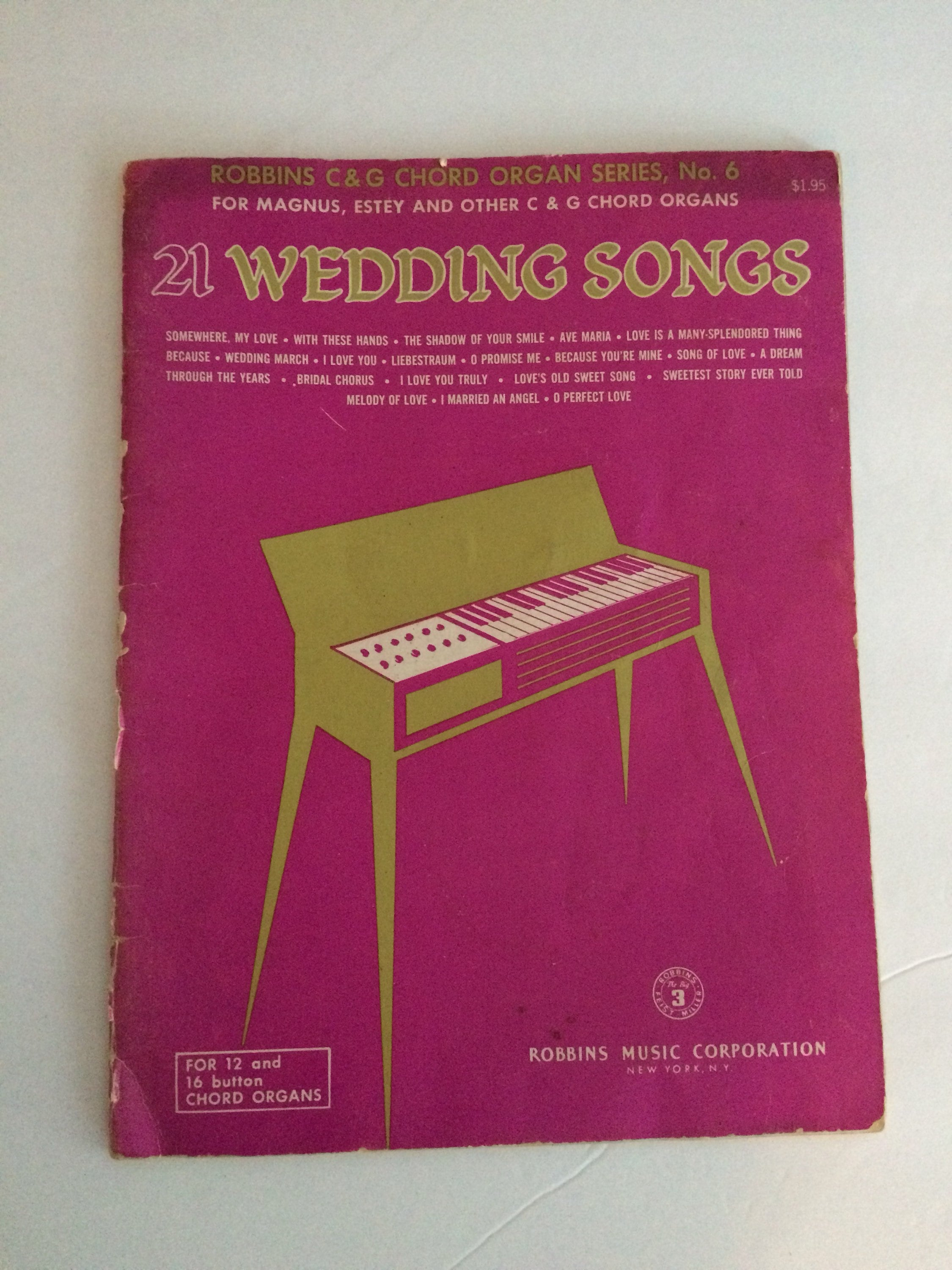 Wedding Songs Sheet Music For 12 And 16 Button Chord Organs Etsy