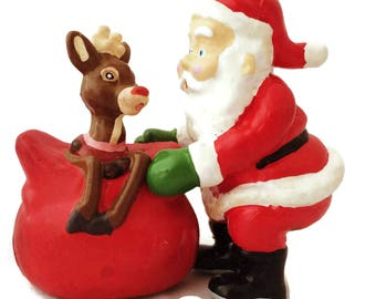 Vintage Christmas Decoration Santa and Rudolph figurine by Applause Christmas collectibles Holiday decorations, Christmas figurines