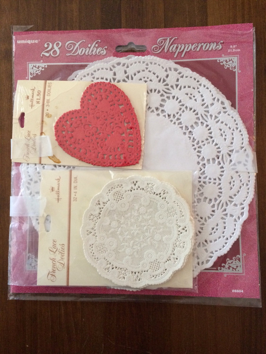 Vintage French Lace Doilies Wedding Decor Heart Shaped Doilies