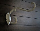 Extra Large Victorian Wall Hook Cast Iron Wall Hook Antique White or Pick Color Coat Hat Dual Hook Planter Hanger Indoor Outdoor