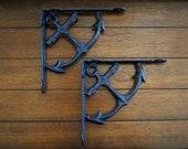 Shelf Brackets Nautical Design Navy Blue or Pick Color Cast Iron Brackets Beach Cottage Decor Anchor Design Coastal Beach Home
