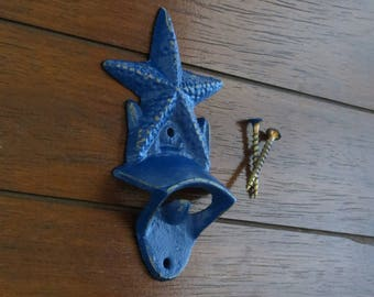 Cast Iron Wall Mounted Bottle Opener / Starfish Nautical Beach Cottage Decor /Mancave Kitchen Gameroom Patio Garage /Deep Blue or Pick Color