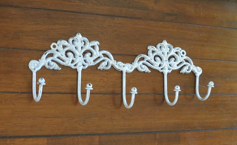 shabby chic wall hook decorative coat rack metal hook rack etsy. Black Bedroom Furniture Sets. Home Design Ideas