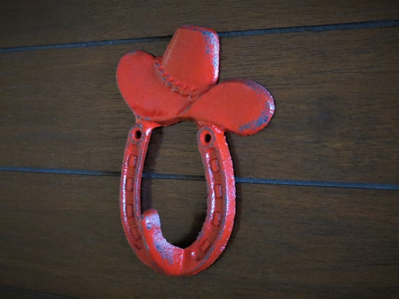 Cast Iron Wall Hook//Cowboy Hook Western D/écor Hot Pink or Pick Your Color Girls Room D/écor Bathroom Towel Hook Horseshoe Decor