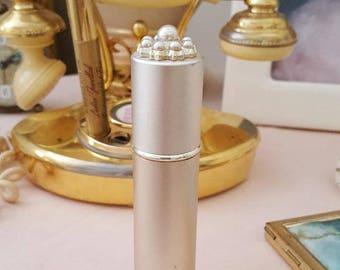 3bb82922da81 Atomizer   Sprayer   Jeweled Purse Spray   Purse Hair Spray   Refillable  Spray Atomizer   Vintage in Box   Pearls n Satin Gold