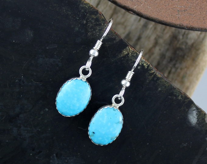 Silver Earrings -Blue Turquoise -Drop Earrings -Statement Earrings - Turquoise Earrings -Boho Earrings -Blue Stone Earrings -Dangle Earrings