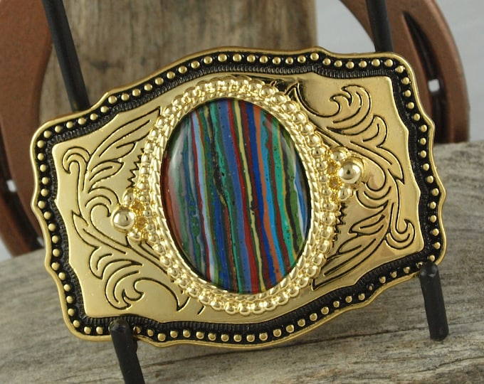 Western Belt Buckle -Rainbow Calsilica Buckle -Cowboy Belt Buckle - Gold Tone & Black Belt Buckle with a Rainbow Calsilica Stone