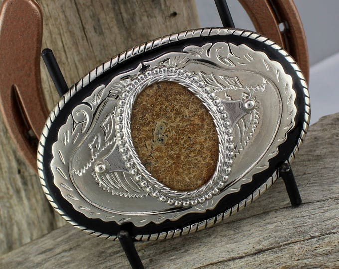 Western Belt Buckle -Natural Stone Belt Buckle -Cowboy Belt Buckle - Silver Tone & Black Belt Buckle with a Petrified Palm Wood Stone