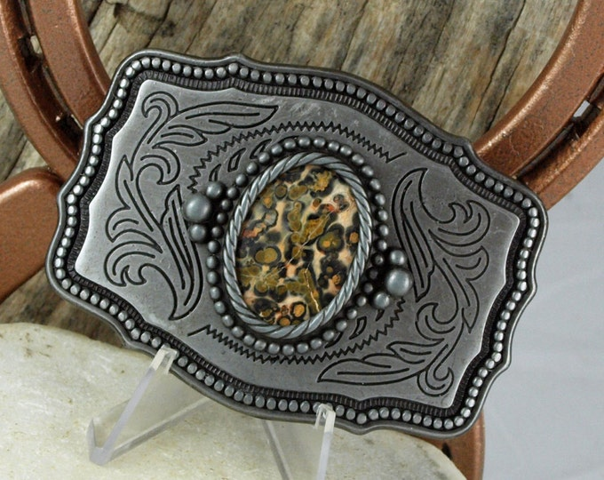 Western Belt Buckle -Natural Stone Belt Buckle -Cowboy Belt Buckle -Antique Silver Tone Belt Buckle with a Natural Leopard Skin Jasper Stone