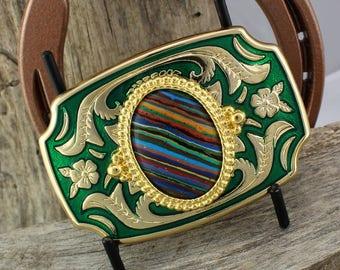 Western Belt Buckle -Rainbow Calsilica Buckle -Cowboy Belt Buckle - Gold Tone & Green Belt Buckle with a Rainbow Calsilica Stone