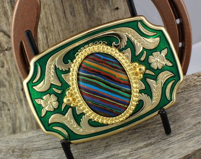 Western Belt Buckle -Rainbow Calsilica Buckle -Cowboy Belt Buckle - Gold Tone & Green Belt Buckle with a Rainbow Calsilica Stone