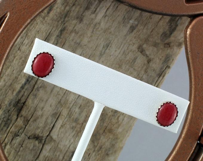 Silver Earrings -Red Mountain Jade Earrings -Studs - Boho Earrings - Statement Earrings - Silver Posts with 10mm x 8mm Red Mountain Jade