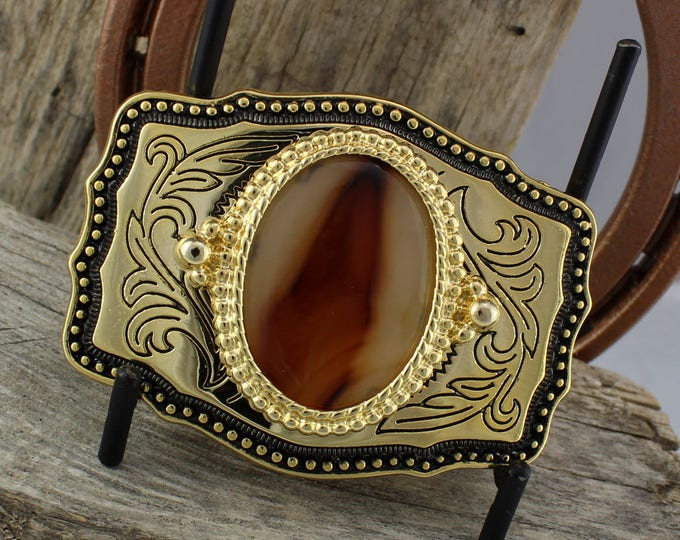 Western Belt Buckle -Natural Stone Belt Buckle -Cowboy Belt Buckle - Gold Tone and Black Belt Buckle with a Natural Montana Agate Stone