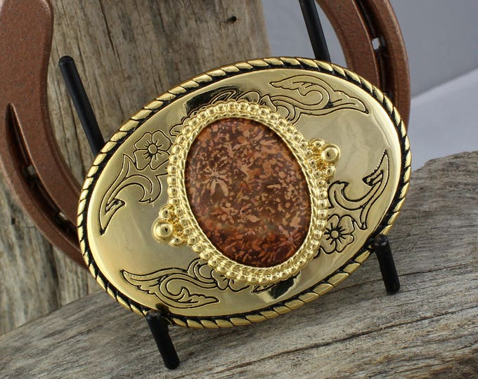 Western Belt Buckle -Natural Stone Belt Buckle -Cowboy Belt Buckle -Gold Tone & Black Belt Buckle with a Natural Spider Jasper Stone