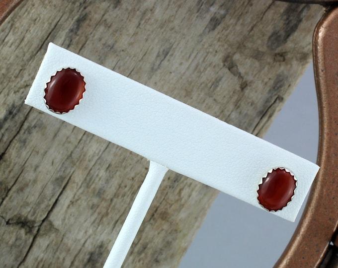 Silver Earrings - Carnelian  Earrings - Statement Earrings - Studs - Boho Earrings -Silver Posts with 10mm x 8mm Natural Red Carnelian