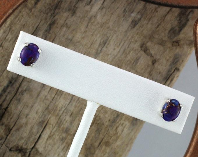 Silver Earrings- Turquoise Earrings -Boho Earrings -Stud Earrings -Statement Earrings -Purple Turquoise -Purple Stone Studs -Stone Earrings