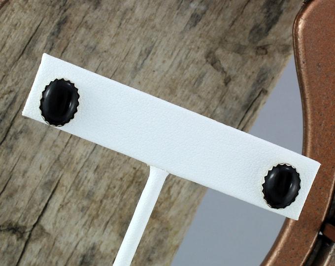 Silver Earrings  -Black Onyx Earrings - Statement Earrings - Studs - Boho Earrings- Silver Posts with 10mm x 8mm Natural Jet Black Onyx
