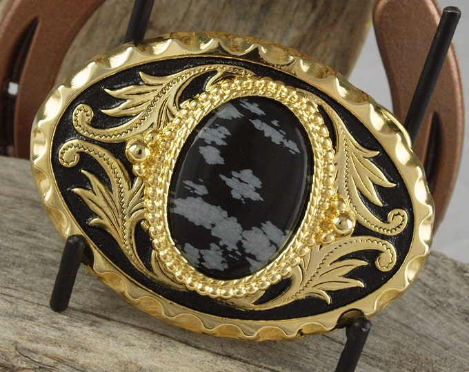 Western Belt Buckle -Natural Stone Belt Buckle -Cowboy Belt Buckle - Gold Tone & Black Belt Buckle with a Snowflake Obsidian Stone