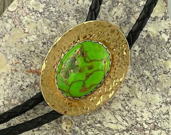 Mohave Green Turquoise Bolo Tie - Western Bolo Tie - Cowboy Bolo Tie - Brass Bolo Tie