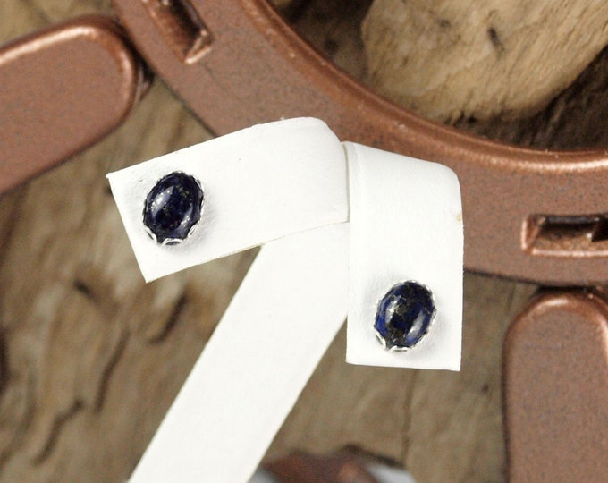 Silver Earrings - Lapis Lazuli Studs - Boho Earrings - Studs    - Statement Earrings - 6mm x 8mm  Blue Lapis Lazuli Stones on Silver Posts