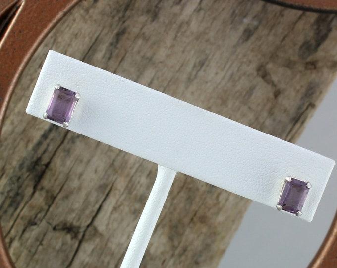 Silver Earrings  Purple Amethyst -Stud Earrings -Gemstone Earrings -Amethyst Earrings -Statement Earrings -Boho Earrings -Purple Stone Studs