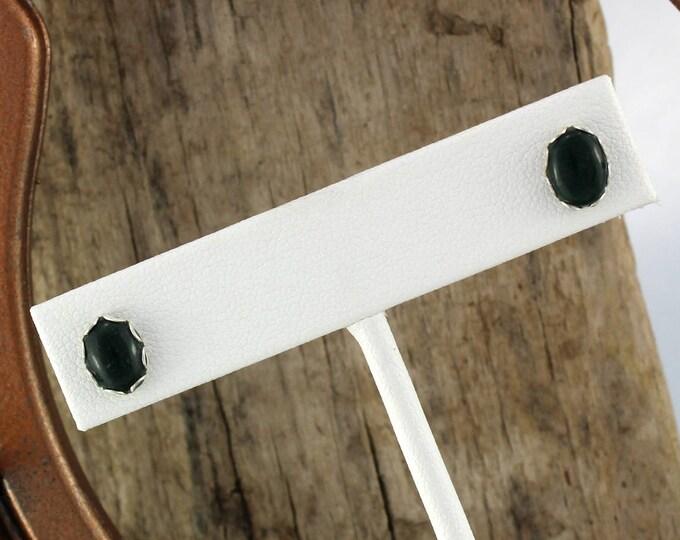 Silver Earrings - Green Mountain Jade Earrings - Silver Earrings - Statement Earrings - Stud Earrings - with 8mm x 6mm Green Mountain Jade