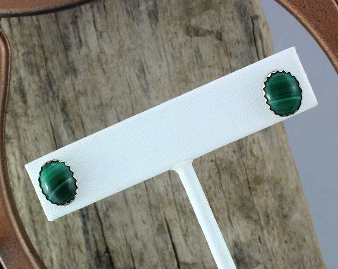 Silver Earrings -Malachite Earrings -Stud Earrings -Boho Earrings -Statement Earrings -Green Malachite -Green Stone Earrings -Stone Earrings