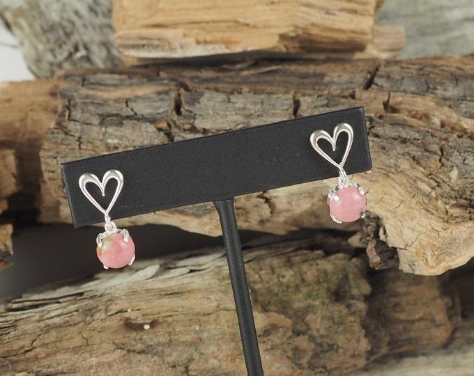 Silver Earrings -Pink Rhodonite - Dangle Earrings - Heart Earrings-Statement Earrings-Pink Stone Earrings-Drop Earrings-Stone Earrings