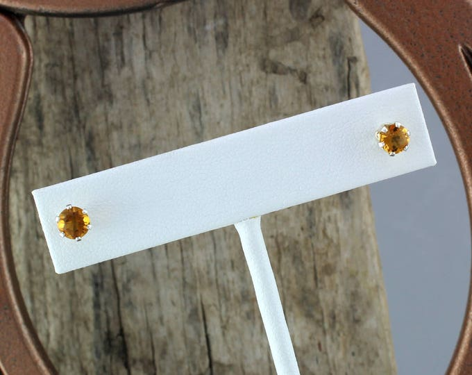 Silver Earrings -Madeira Citrine -Citrine Earrings -Stud Earrings -Orange Gemstone -Statement Earrings -Boho Earrings -Gemstone Earrings