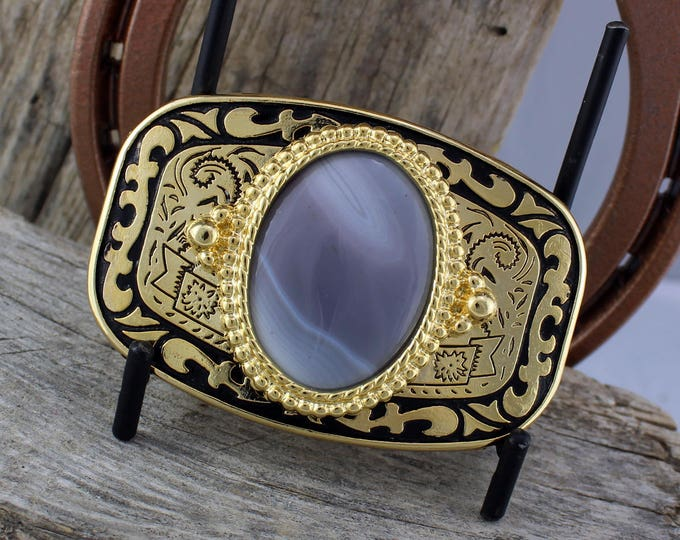 Western Belt Buckle -Natural Stone Belt Buckle -Cowboy Belt Buckle - Gold Tone and Black Belt Buckle with Natural Botswana Agate Stone