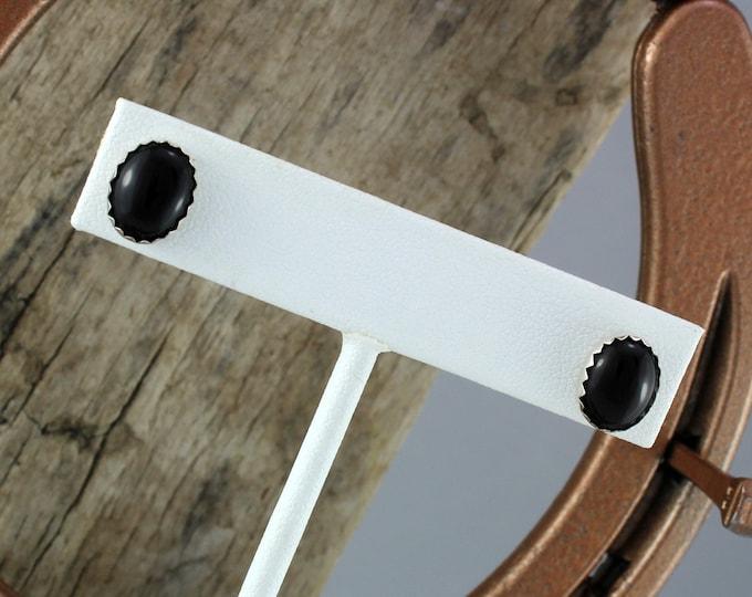 Silver Earrings -  Black Onyx Earrings - Statement Earrings - Stud Earrings - Sterling Silver Post with 10mm x 8mm Black Onyx Stones