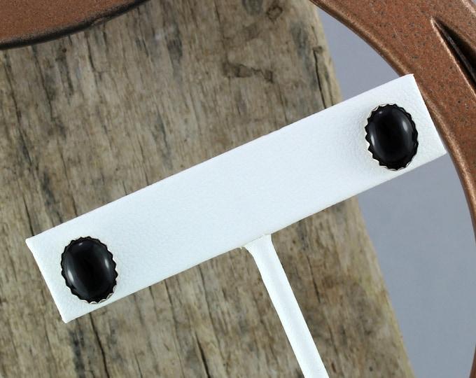 Silver Earrings -Black Onyx Earrings -Stud Earrings-Boho Earrings -Statement Earrings  Black Stone Earrings - Stone Earrings-Black Onyx