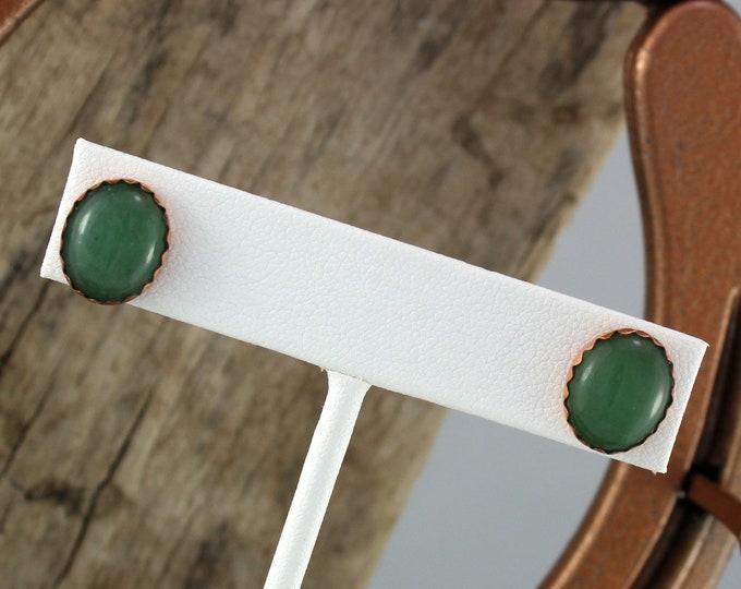 Copper & Silver  Earrings -  Green Aventurine Earrings -Statement Earrings  - Stud -  Handmade Earrings - 12mm x 10mm Aventurine