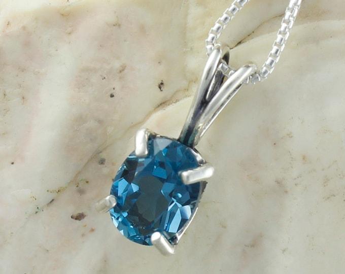 London Blue Topaz Pendant - Sterling Silver Pendant Necklace - London Blue Topaz Necklace