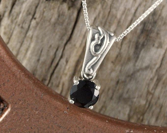 Natural Black Spinel Pendant Necklace - Sterling Silver Pendant - Black Spinel Necklace