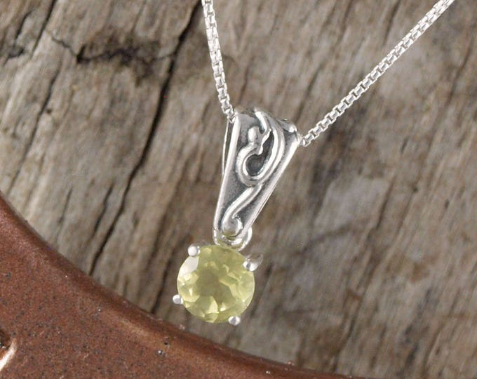Sterling Silver Pendant/Necklace - Lemon Quartz Pendant/Necklace - Sterling Silver Setting with a 6mm Natural Lemon Quartz Gemstone