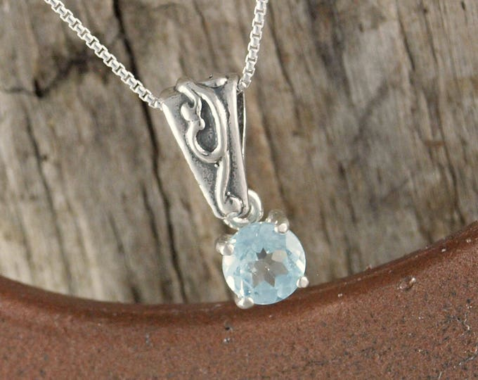 Sterling Silver Pendant/Necklace -Blue Aquamarine Pendant/Necklace - Sterling Silver Setting with a 6mm Natural Aquamarine Stone