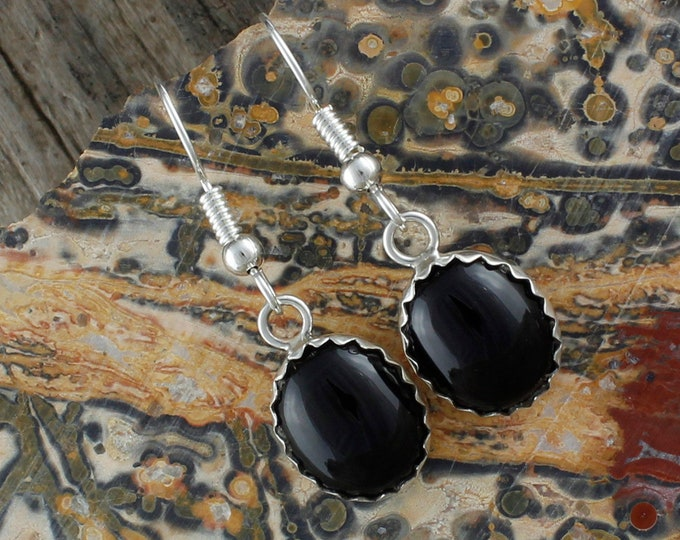 Black Onyx Earrings - Sterling Silver Earrings - Black Onyx Dangles - Dangle Earrings