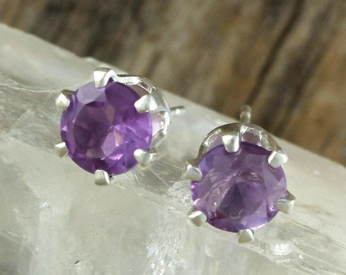 Natural Amethyst Earrings - Sterling Silver Post Earrings - Purple Amethyst Studs - Stud Earrings