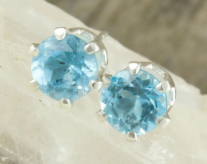 Natural Swiss Blue Topaz - Sterling Silver Earrings - Swiss Blue Topaz Studs - Stud Earrings
