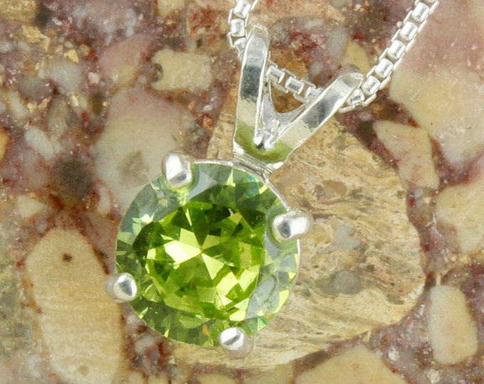 Natural Peridot Pendant - Sterling Silver Pendant Necklace - Green Peridot Necklace