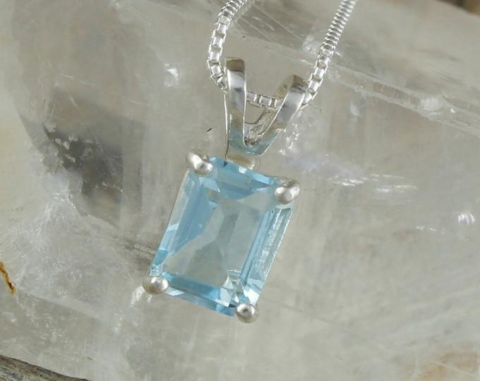 Natural Aquamarine Pendant - Sterling Silver Pendant Necklace - Blue Aquamarine Pendant