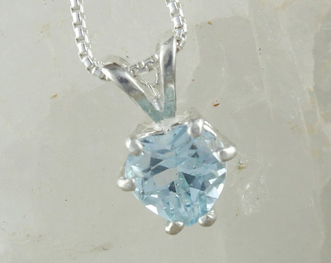 Natural Aquamarine Pendant -Sterling Silver Pendant Necklace -Blue Aquamarine Necklace - Heart Pendant